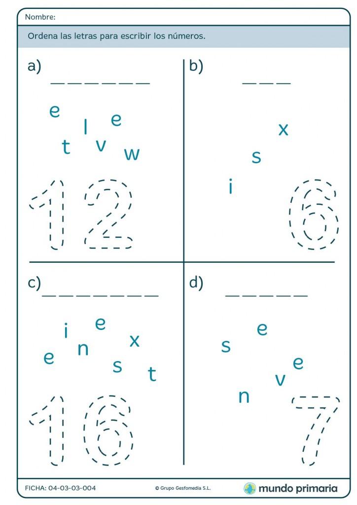 Ficha de deletrear números para primaria