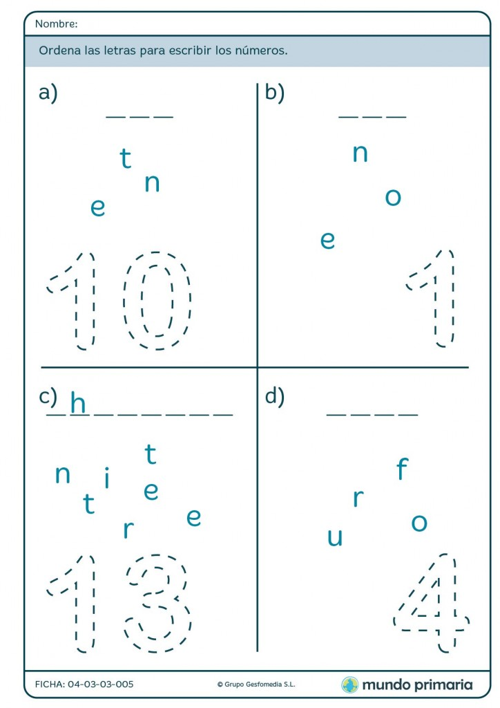 Ficha de order the letters to write numbers para primaria