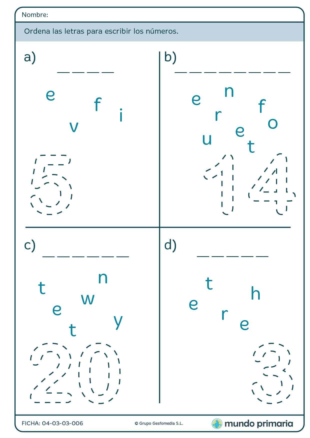 Ficha de escribir los números para primaria