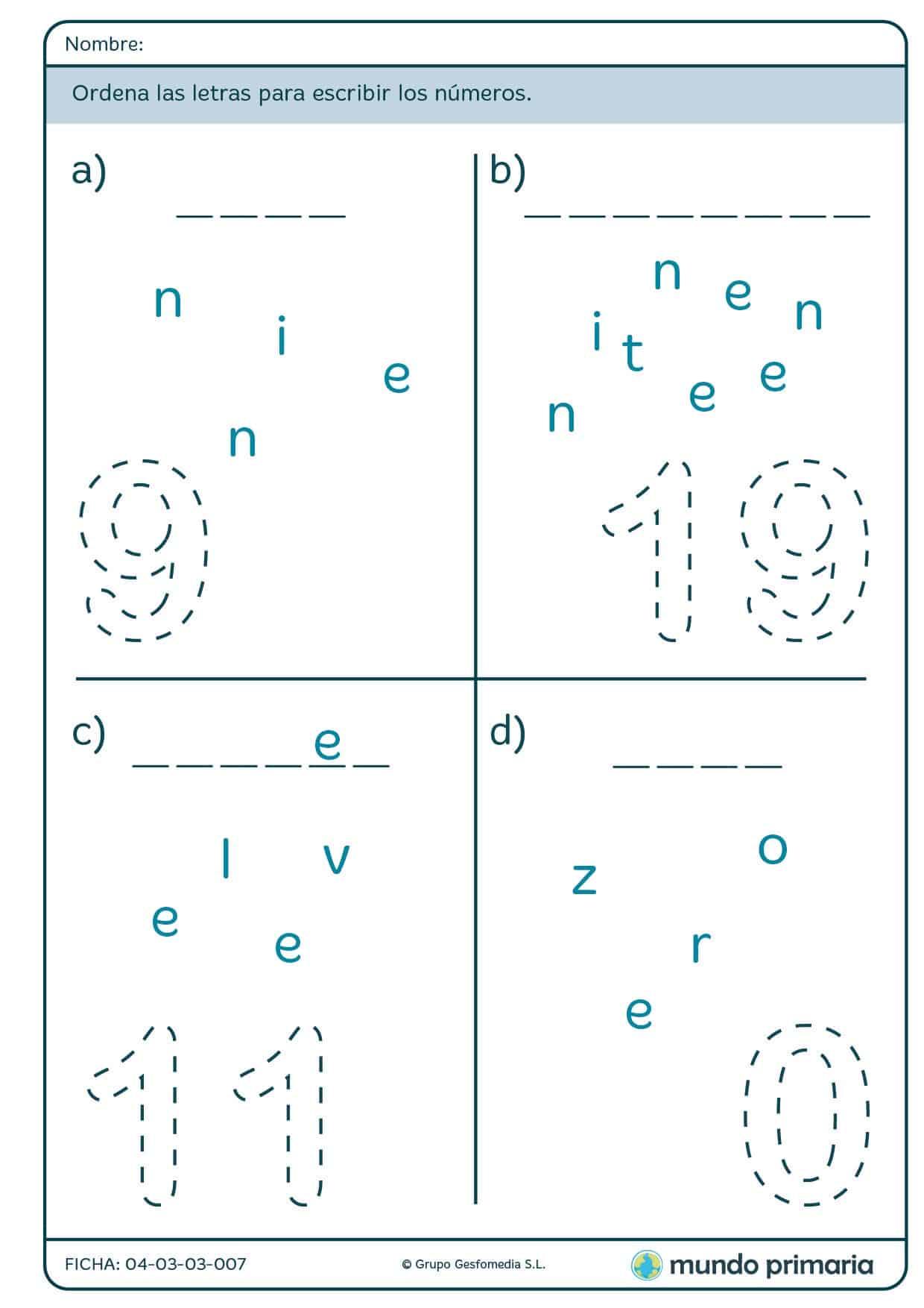 Ficha de colocar las letras para escribir números para primaria