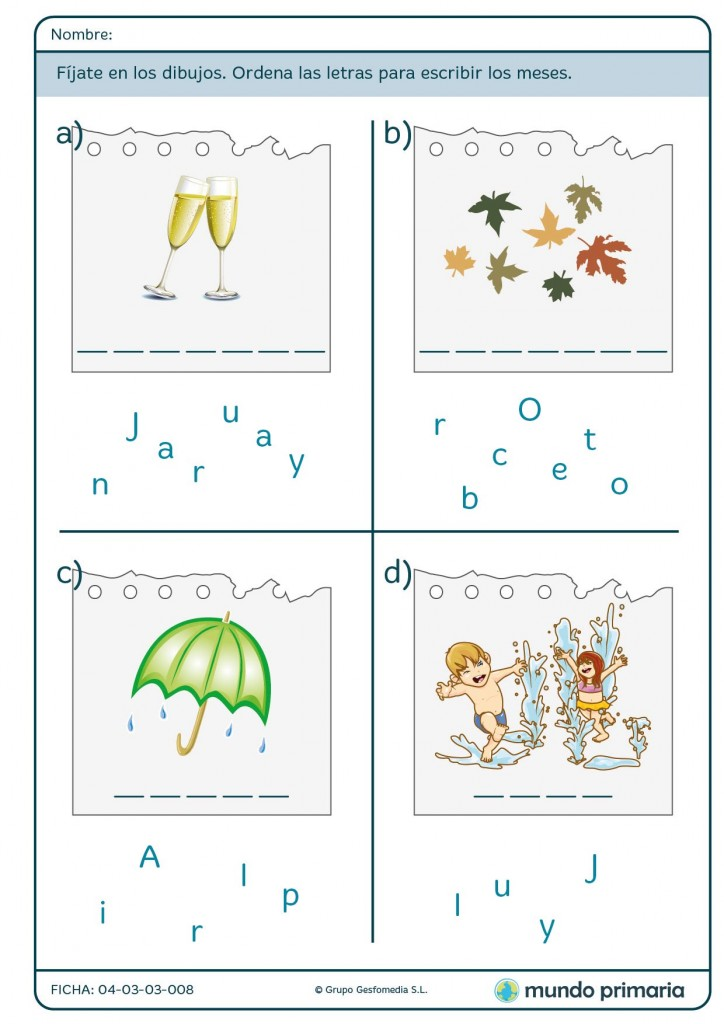 Ficha de order the letters to write the months para primaria