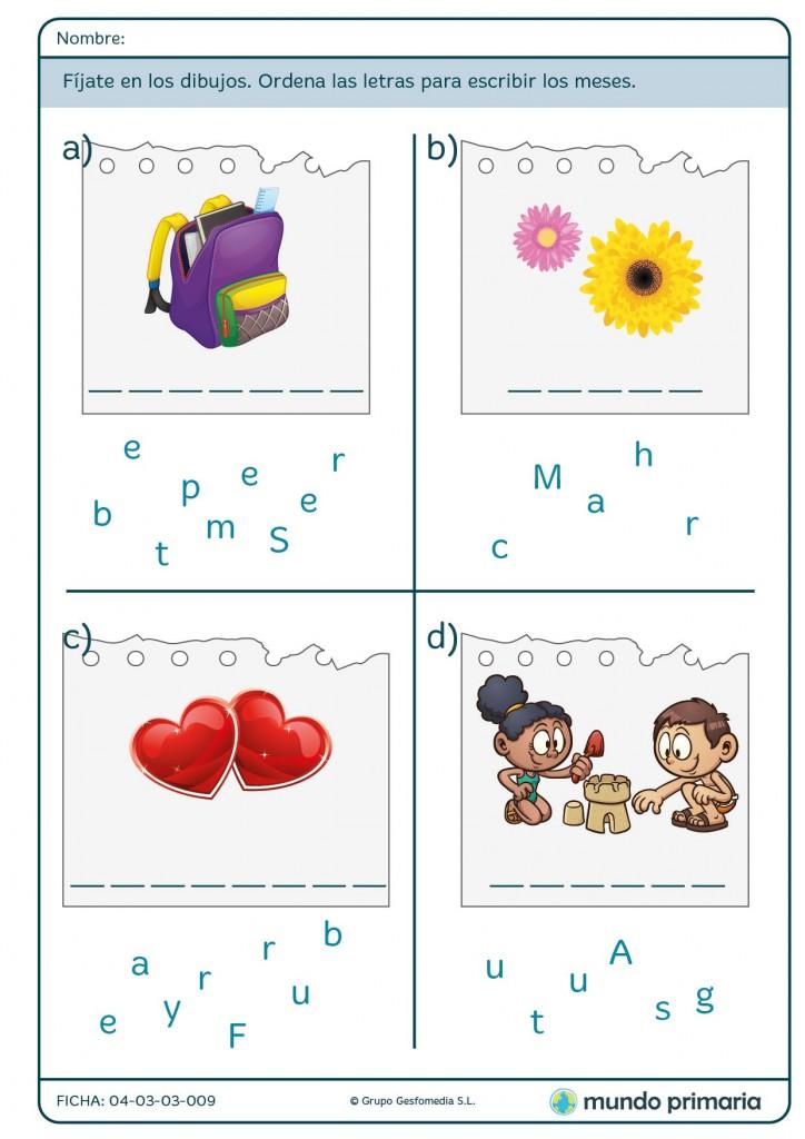 Ficha de ordenar las letras para escribir los meses para primaria