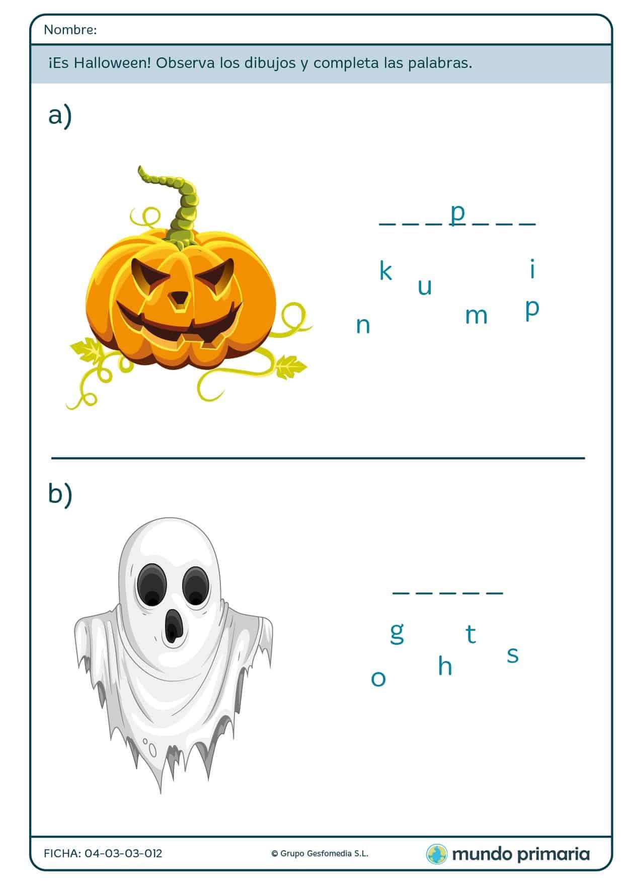 Ficha de deletrear palabras sobre Halloween para primaria