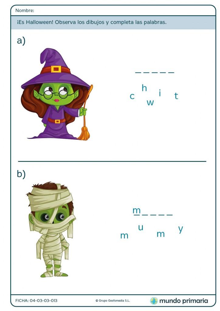 Ficha de escribir palabras sobre Halloween para primaria