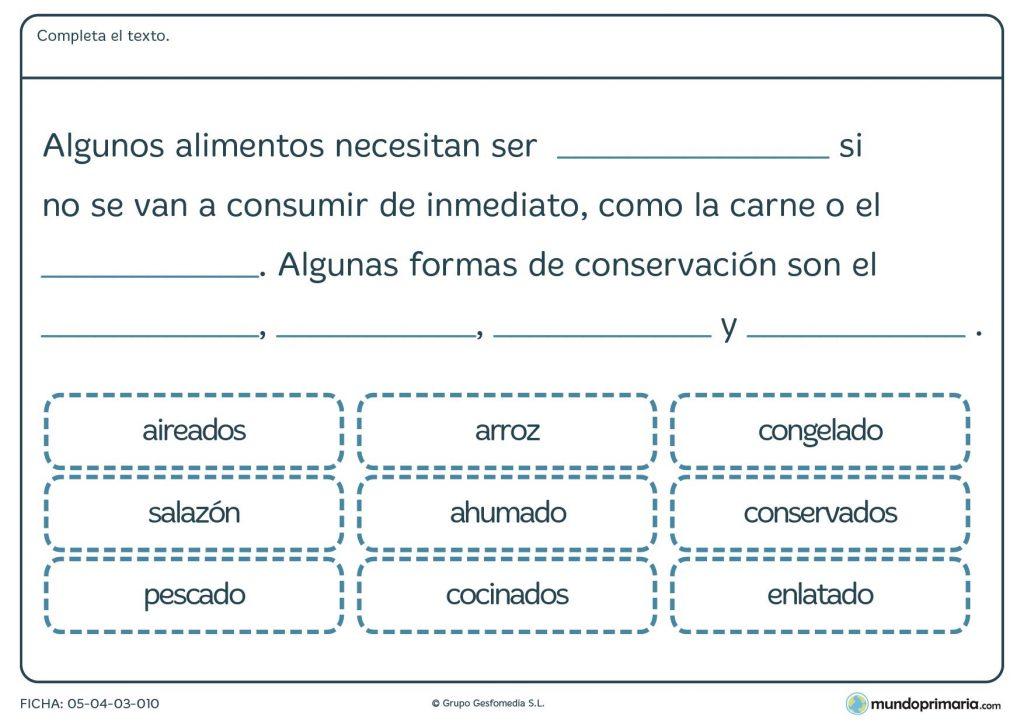 Ficha de alimentos y su conservación para primaria