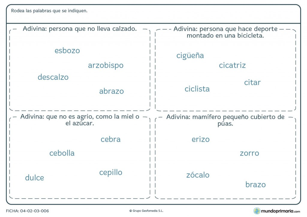 Ficha de adivinar el objeto con z según la definición para primaria