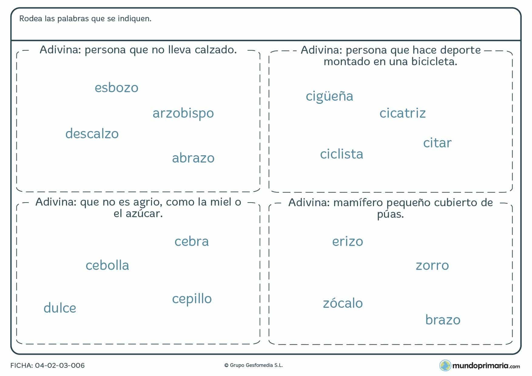 Ficha de adivinar el objeto con z según la definición en la que, observando la descripción dada, hay que identificar la palabra que se corresponde con ésta.