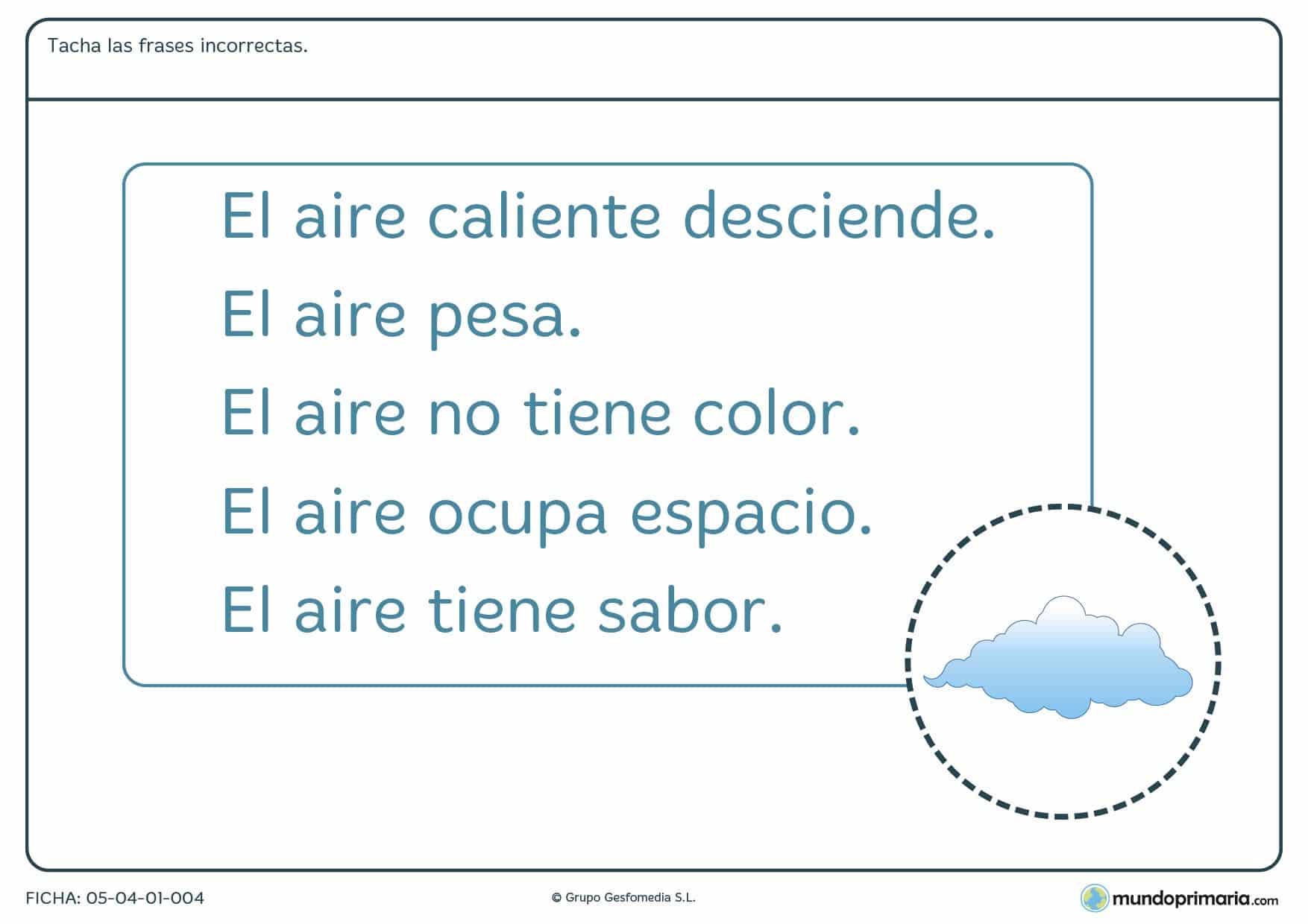 Ficha de características del aire en el que hay que tachar las frases que son incorrectas sobre el aire.