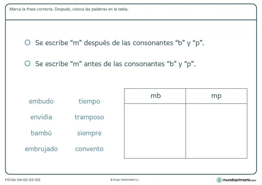 """Ficha de colocar la """"m"""" con """"b"""" y """"p"""" para primaria"""