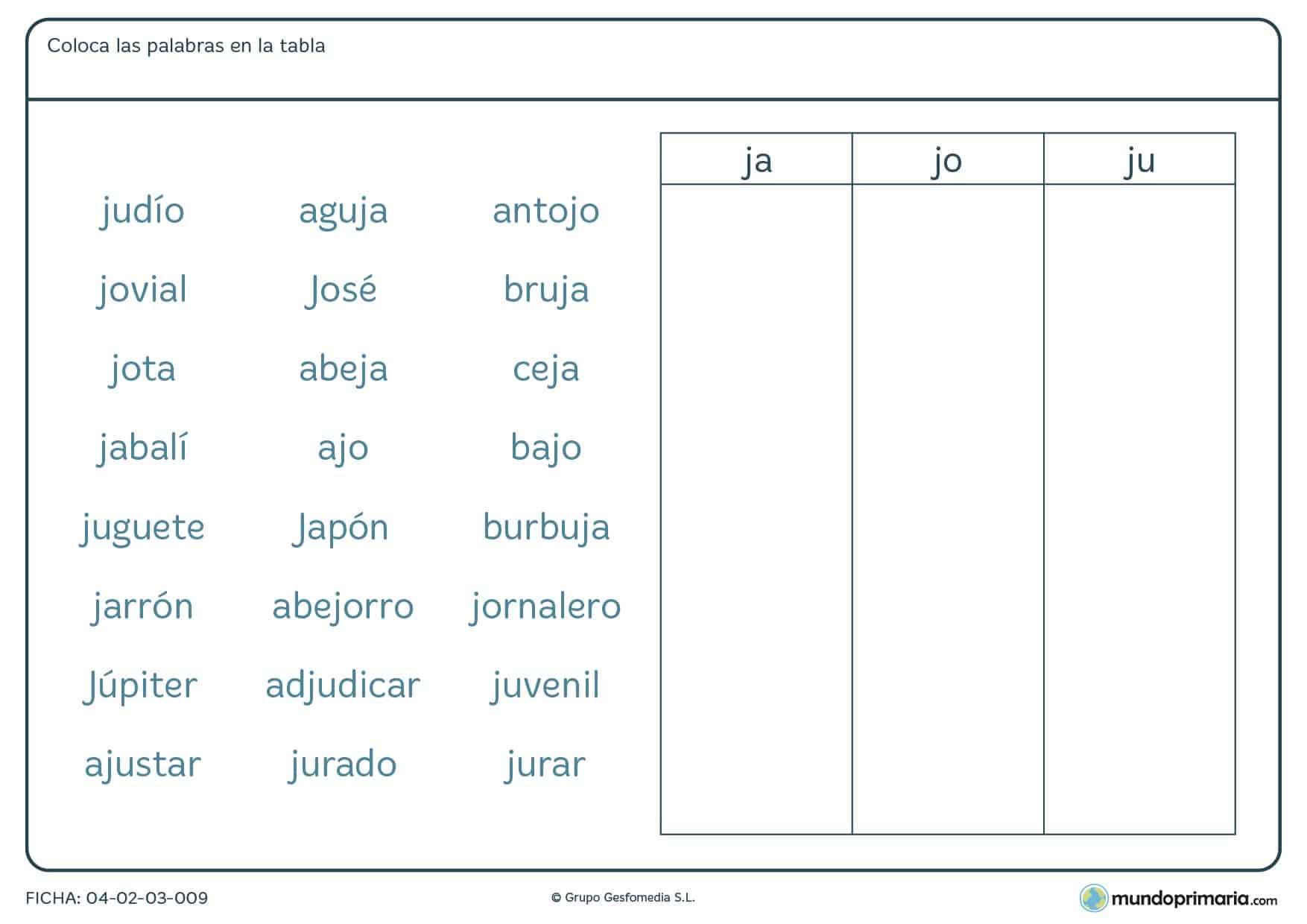 Ficha de colocar las palabras según sus sílabas en la que debes identificar las sílabas que se piden y colocar la palabra en la columna correspondiente.