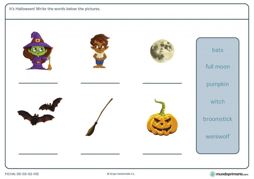 Ficha de completar con las palabras de Halloween para primaria