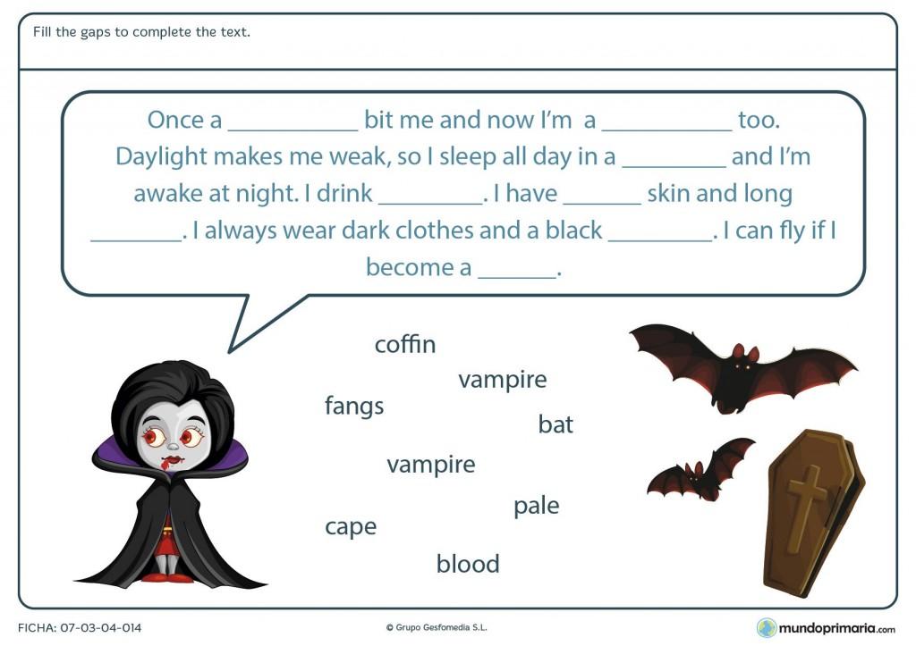 Ficha de completar el texto con palabras de Halloween para primaria