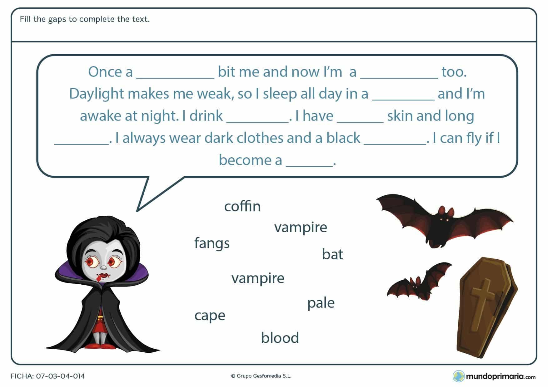 Ficha de completar el texto con palabras de Halloween en la que tendrás que rellenar los huecos que faltan en el texto con las palabras dadas debajo.