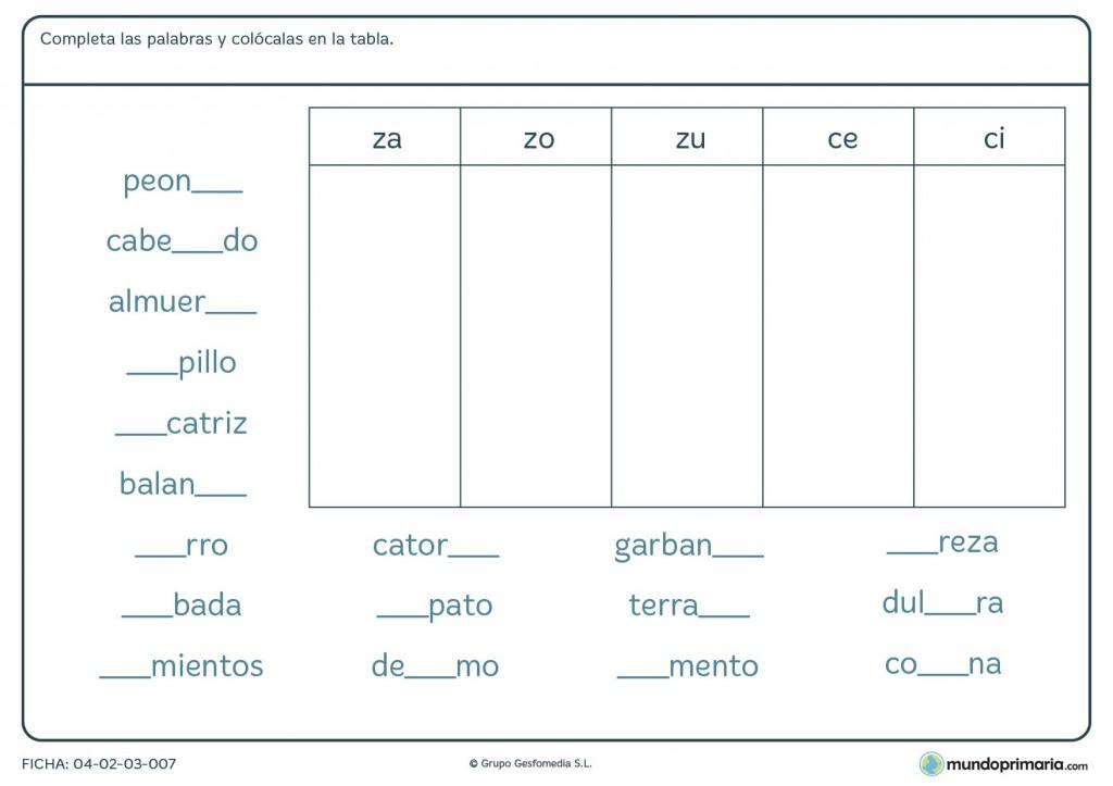 Ficha de completar la palabra con la sílaba que falta para primaria