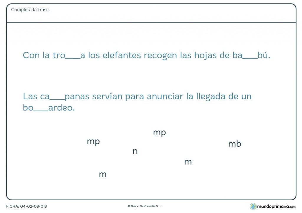 """Ficha de completar las palabras con """"mb"""" o """"mp"""" para primaria"""