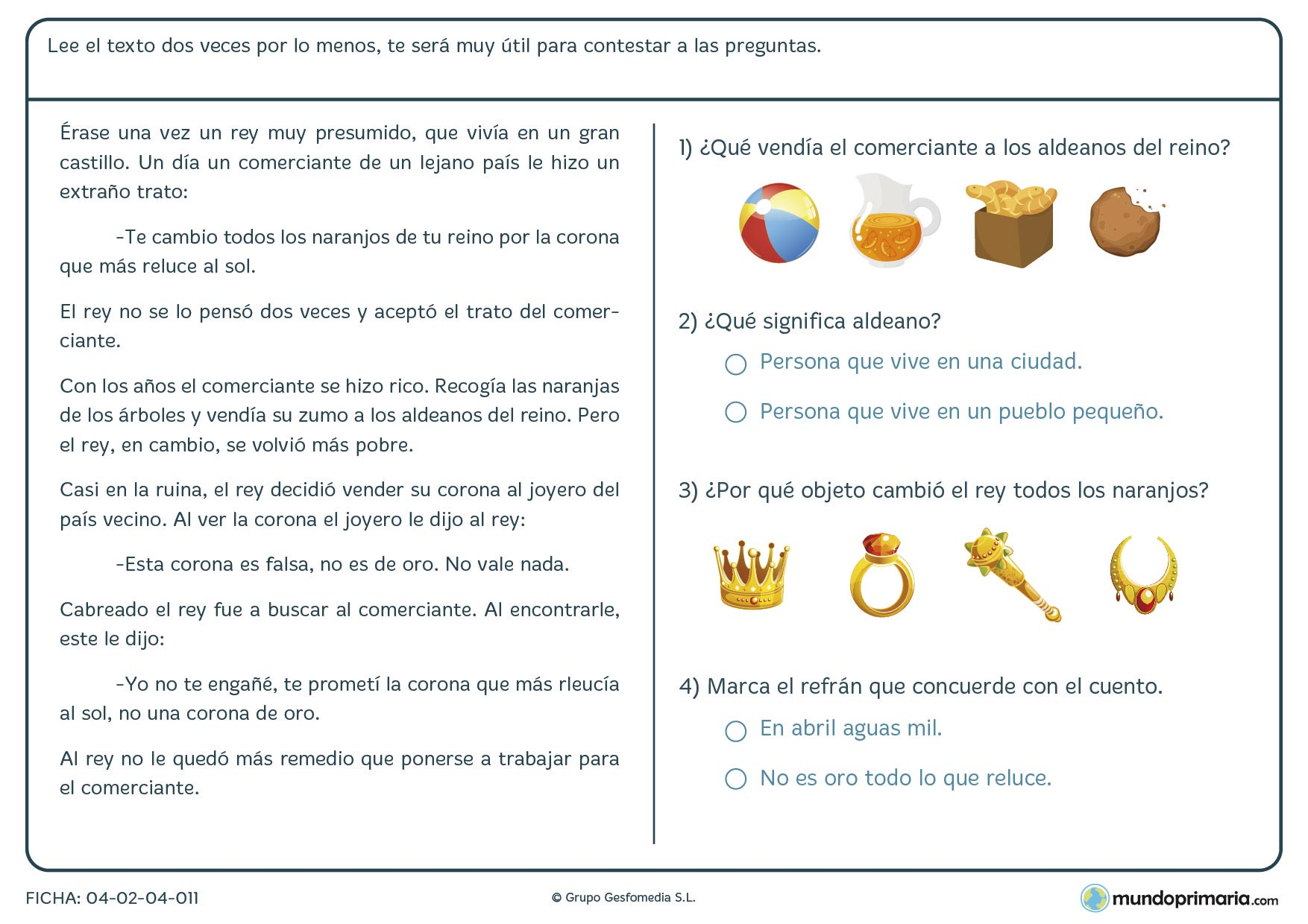 Primaria ejercicios comprensión lectora lengua segundo