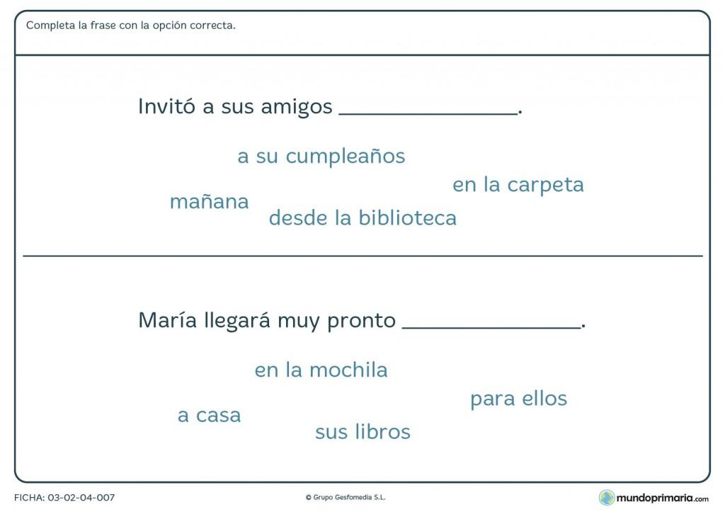 Ficha de escribir la palabra adecuada en la frase para primaria