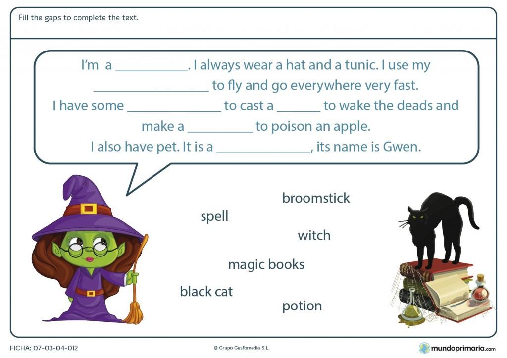 Ficha de fill the gaps to complete the text de Halloween para primaria