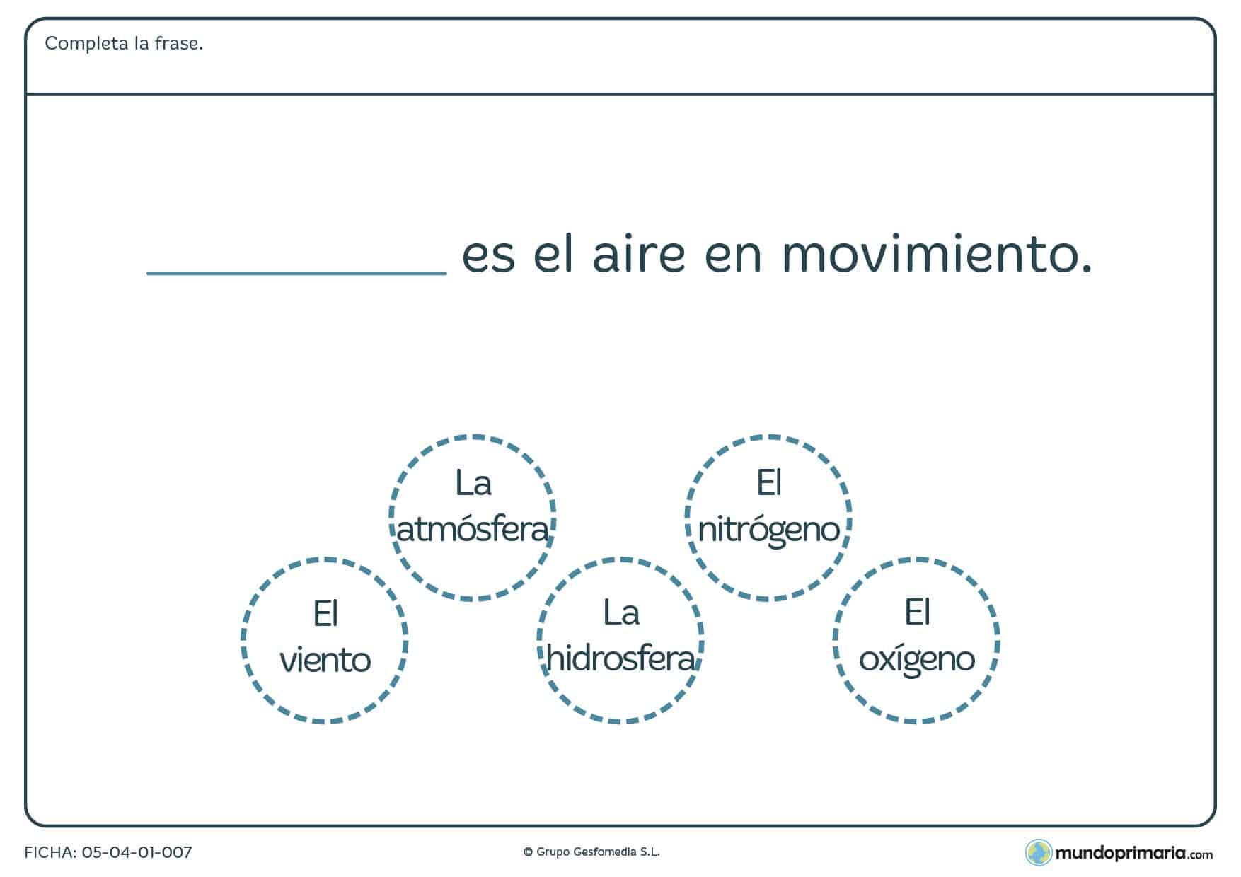 Ficha de formas del aire en el que hay que completar la frase con uno de los elementos proporcionados en el ejercicio.