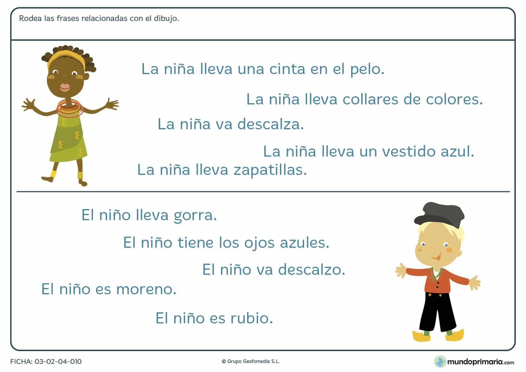 Ficha de frases que reflejan dibujos para niños de 7 a 8 años en la que debes identificar qué frase explica mejor el dibujo dado.