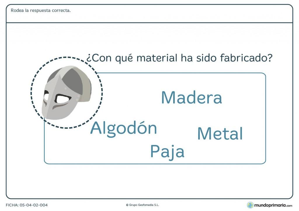Ficha de identificar materiales para primaria