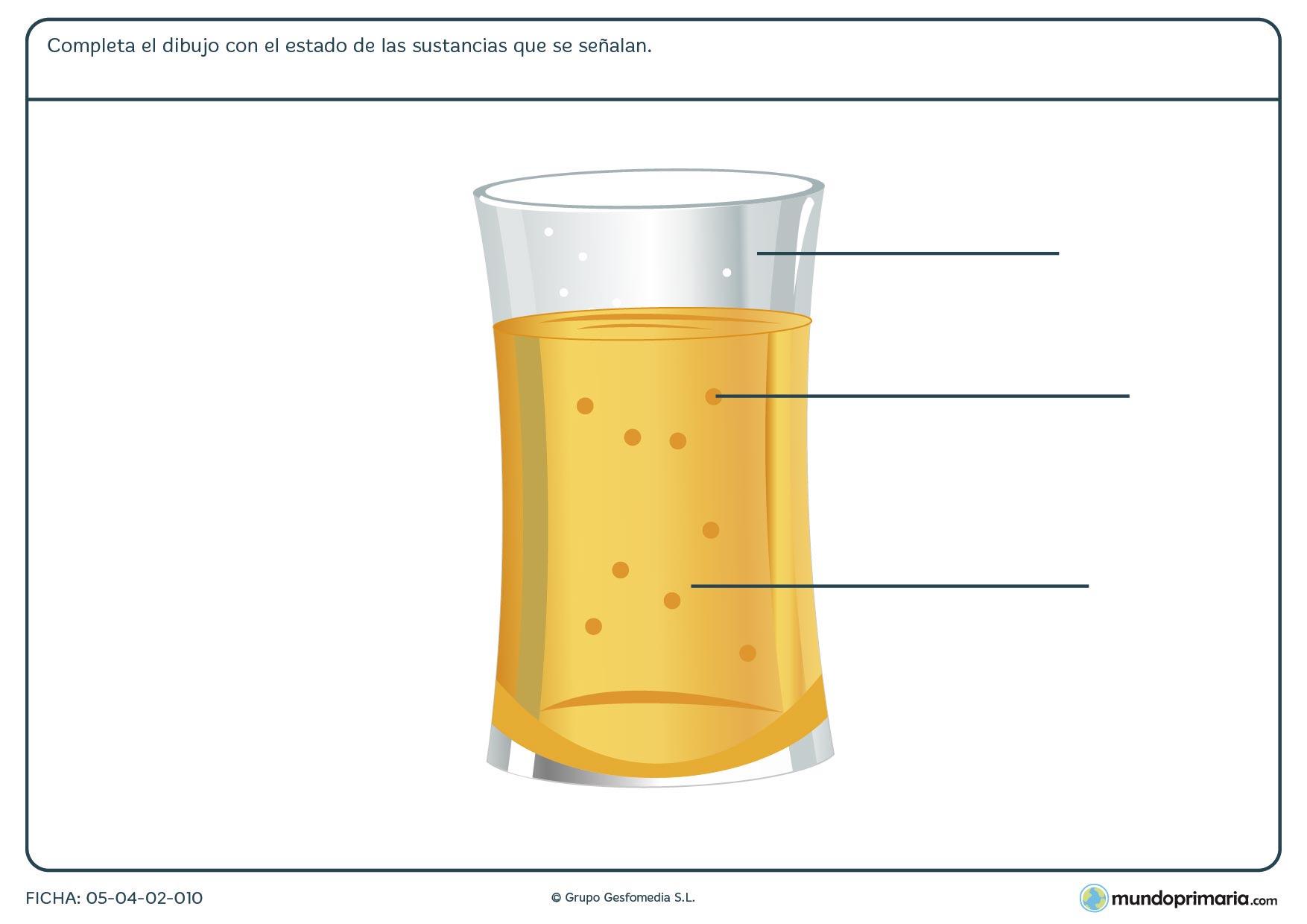 Ficha de indicar los estados en el dibujo en el que hay que completar los espacios que señalan distintos elementos del dibujo.