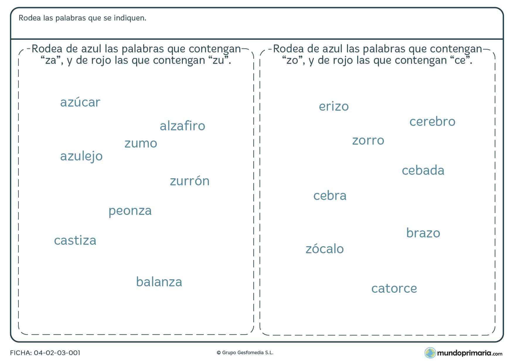 Fichas con ejercicios de lengua   Mundo Primaria