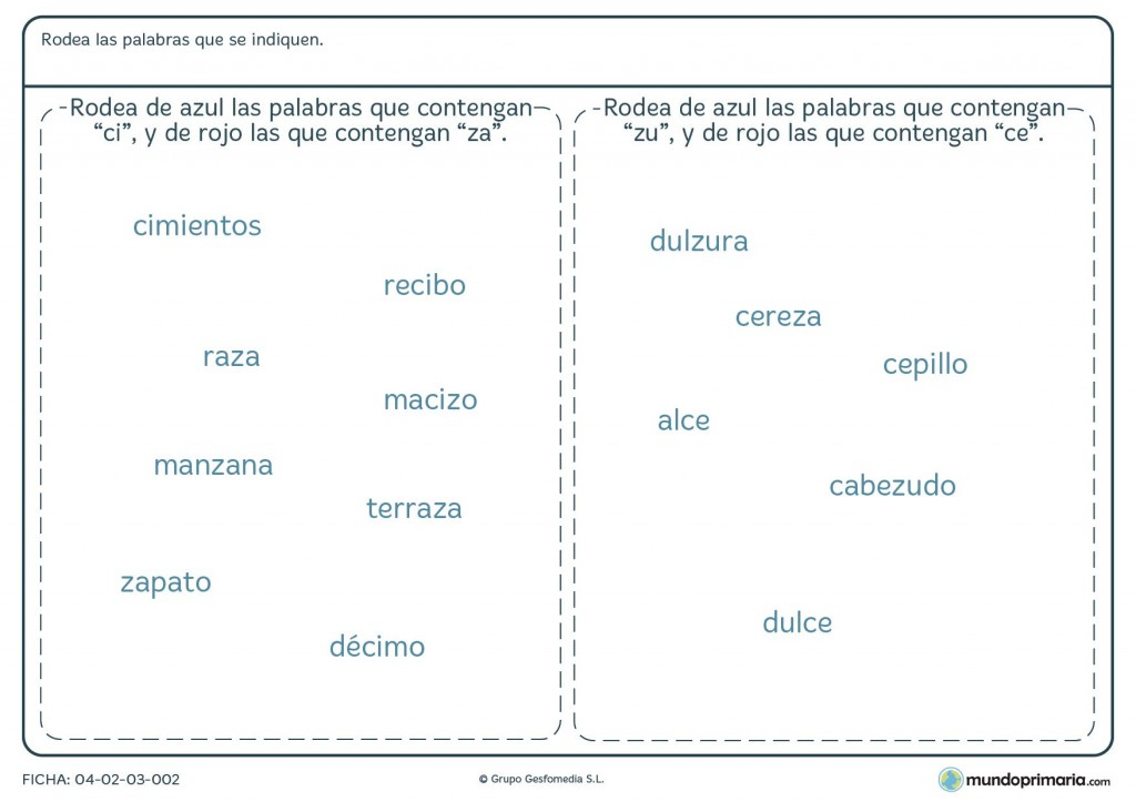 Ficha de localizar sílabas en palabras para primaria