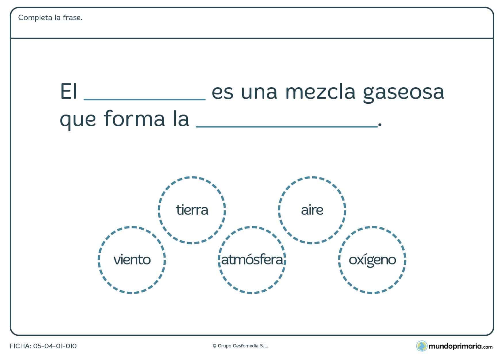 Ficha de los gases y el aire en el que se debe completar la frase planteada con los elementos proporcionados en el ejercicio.