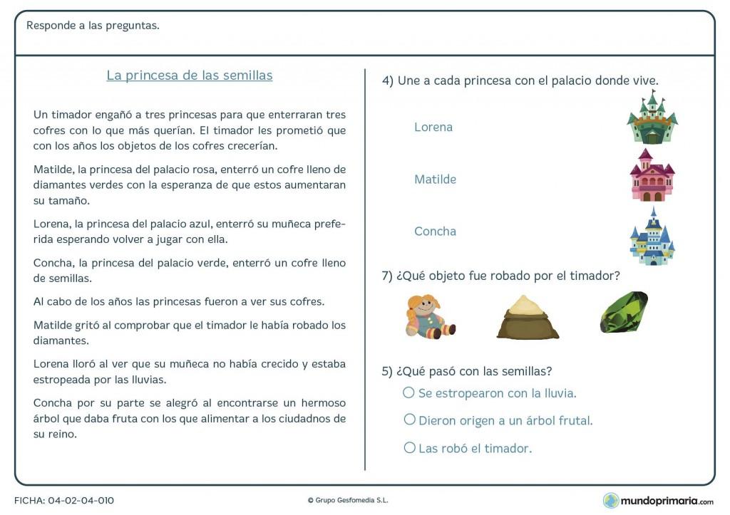 Ficha de preguntas sobre un texto dado para primaria
