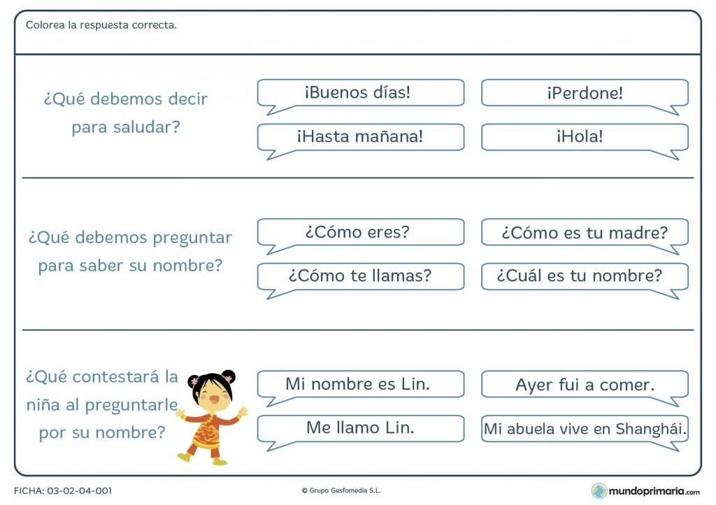 Ficha de preguntas y respuestas para primaria