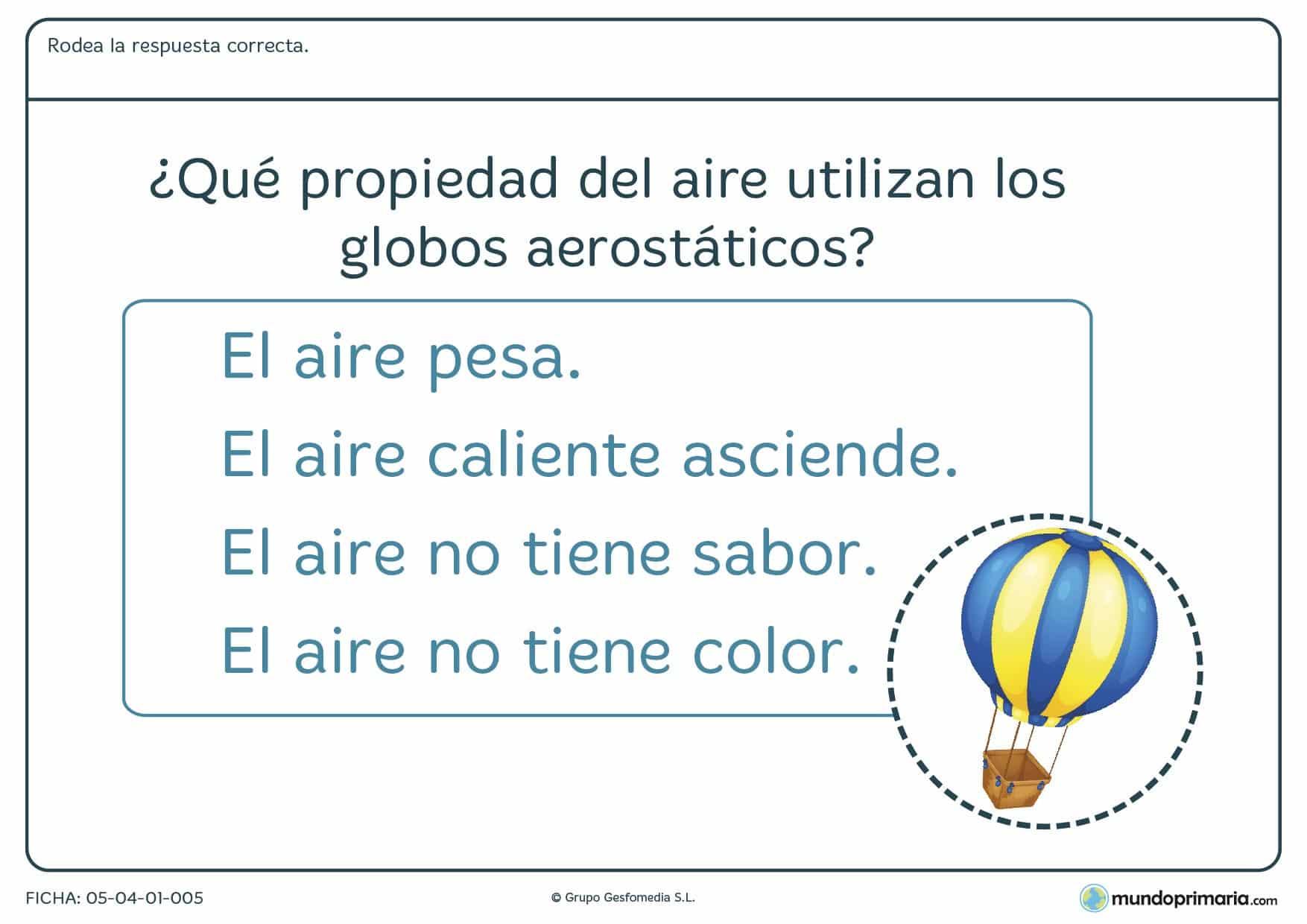 Ficha de propiedades del aire en el que hay que rodear cúal es la respuesta correcta a la pregunta planteada.