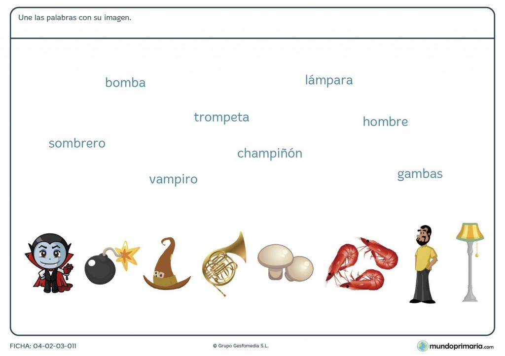 Ficha de relacionar cada palabra con su dibujo para primaria
