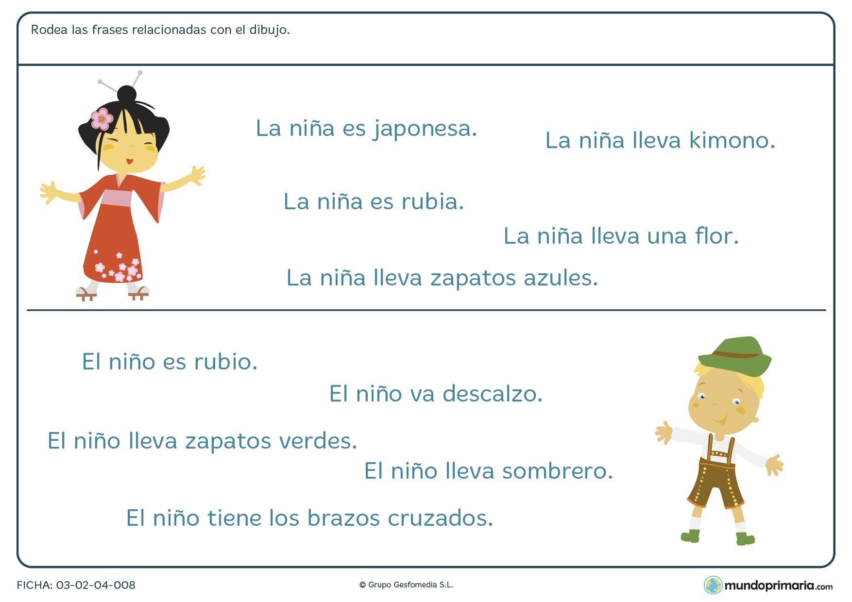 Ficha de relacionar frases con dibujos para niños de primero de primaria en la que debes identificar qué frase explica mejor el dibujo dado.