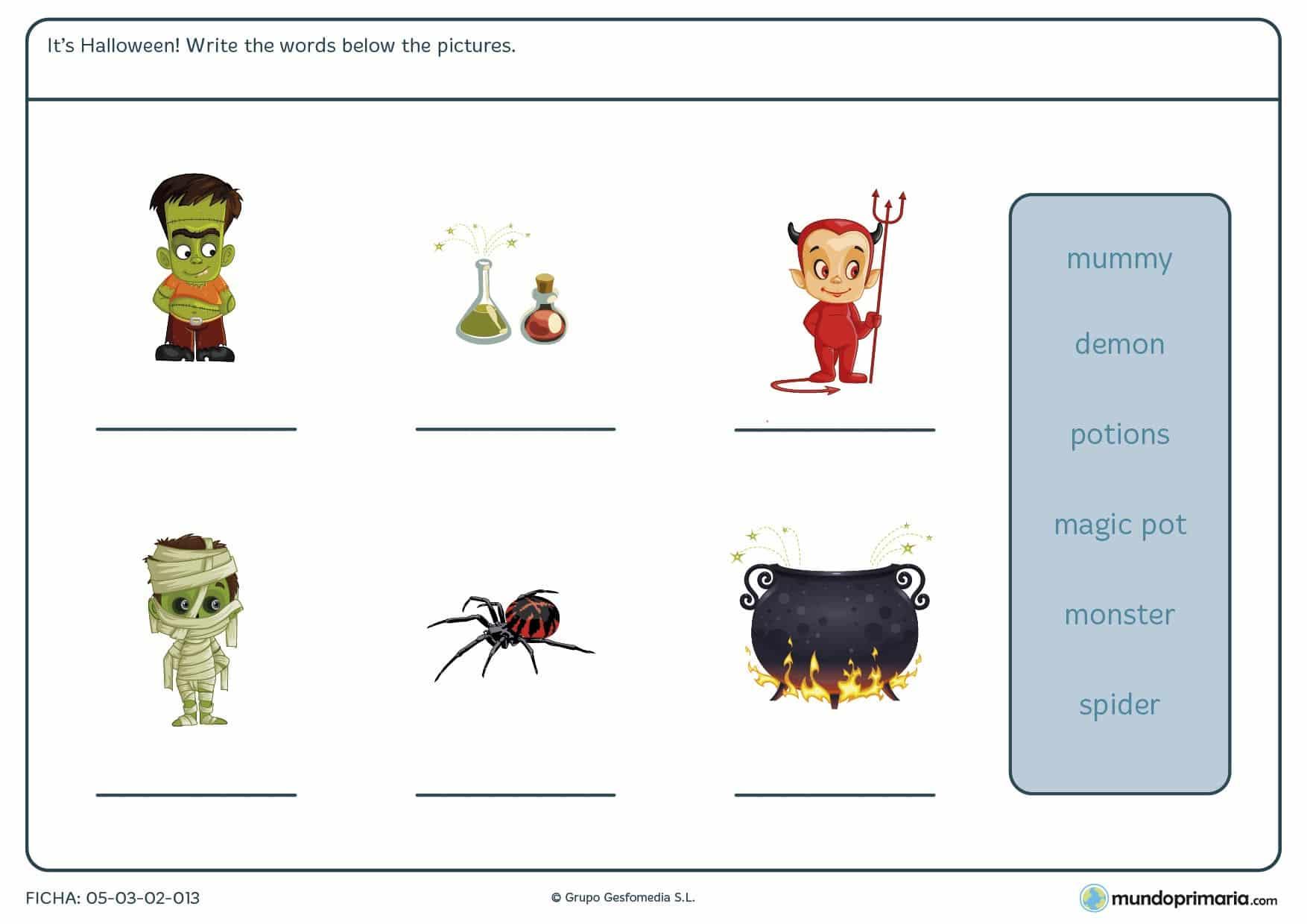 Ficha de relacionar las palabras y dibujos de Halloween en el que hay que escribir las palabras proporcionadas en los espacios con los dibujos.