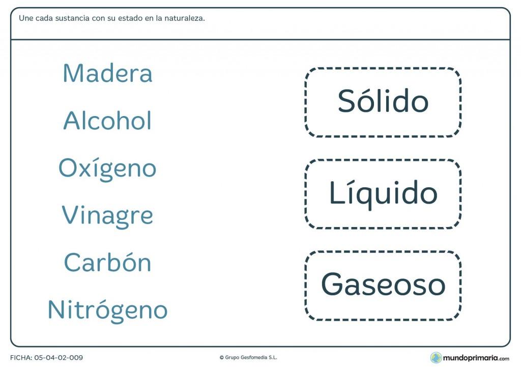 Ficha de relacionar sustancias con sus estados naturales para primaria