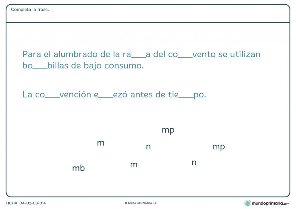 """Ficha de rellenar las palabras con """"mb"""" o """"mp"""" para primaria"""