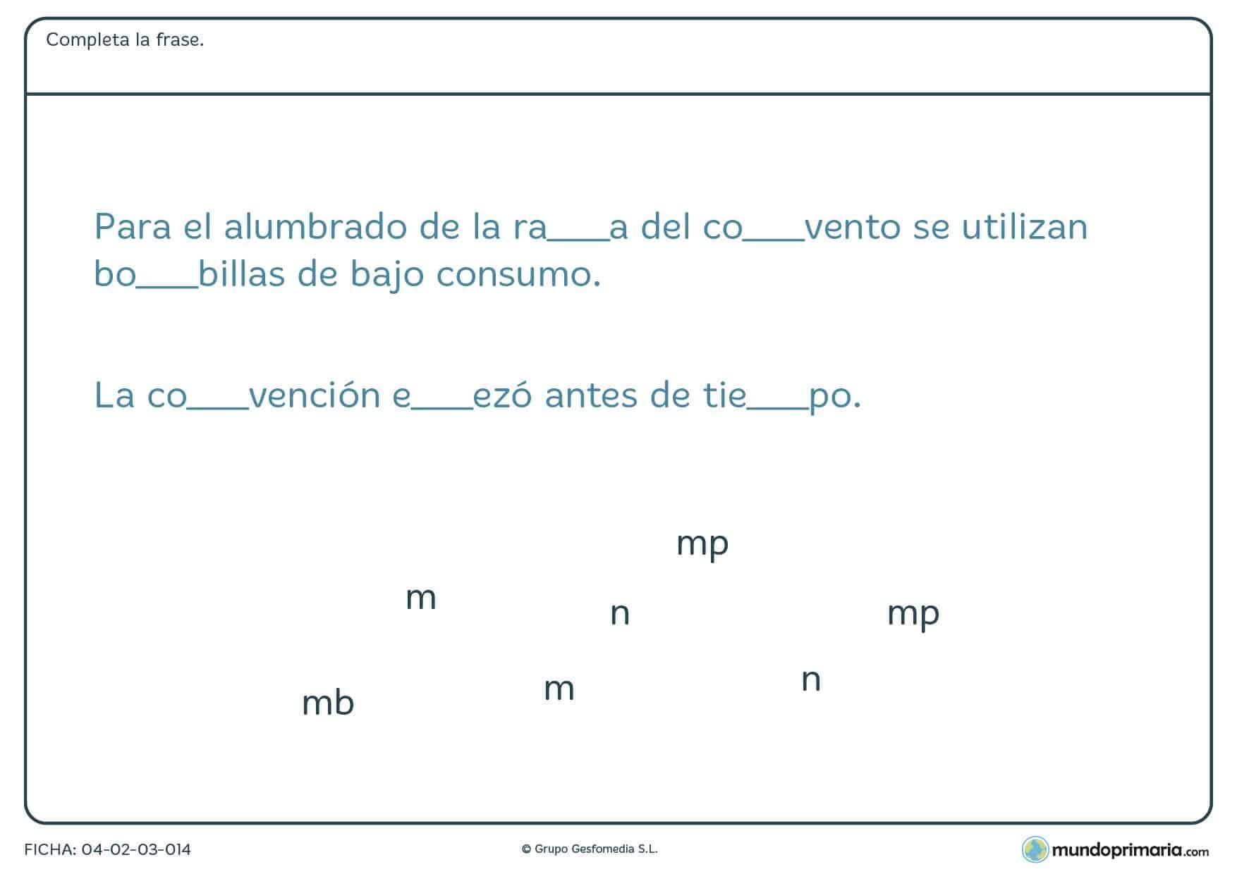 "Ficha de rellenar las palabras con ""mb"" o ""mp"" en la que debes debes completar las palabras con la partícula correcta para que la frase tenga sentido."