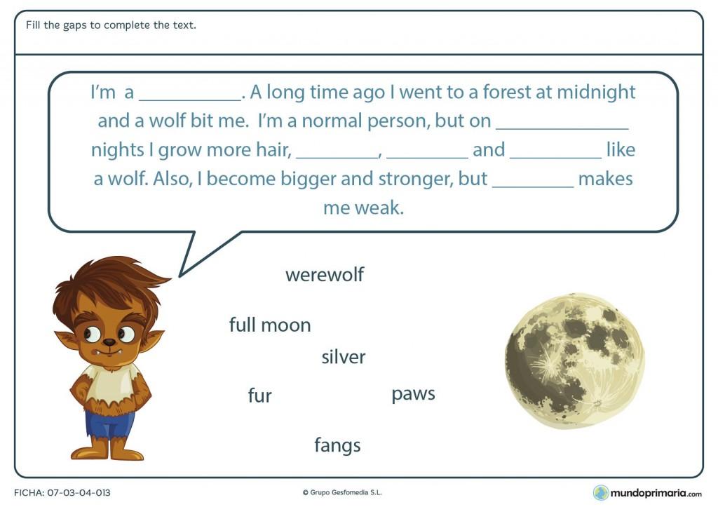 Ficha de rellenar los huecos con palabras de Halloween para primaria