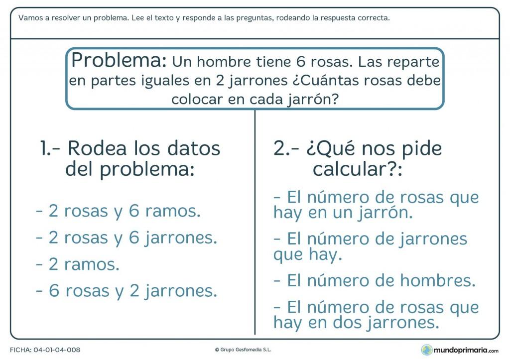 Ficha de resolver el problema sobre rosas y jarrones para primaria