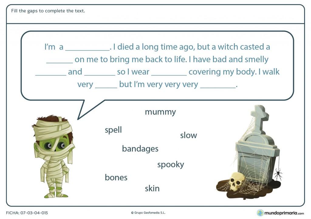 Ficha de resolver el texto de Halloween para primaria