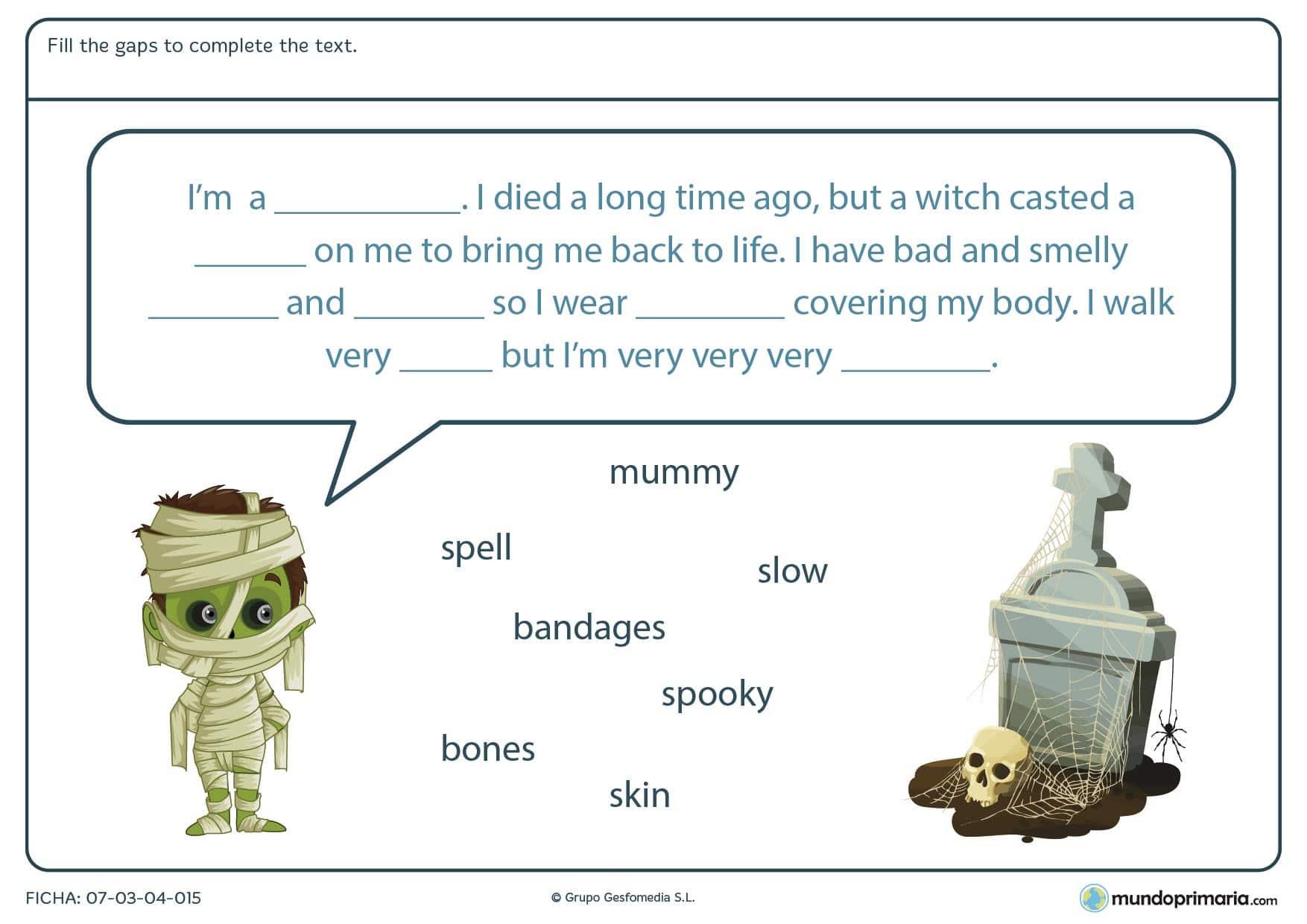 Ficha de resolver el texto de Halloween en la que tendrás que rellenar los huecos que faltan en el texto con las palabras dadas debajo.