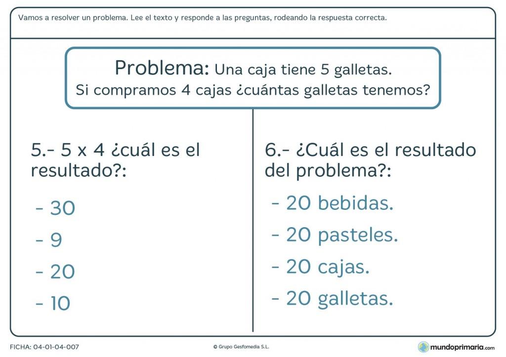 Ficha de resolver las preguntas del problema para primaria