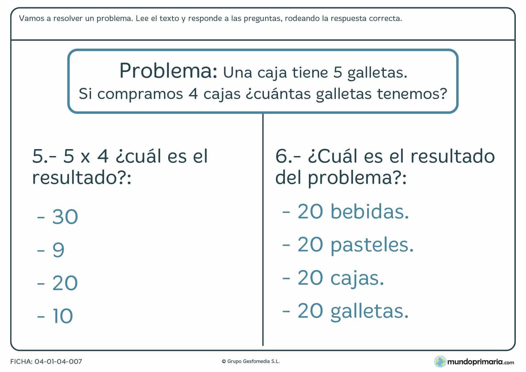 Ficha de resolver las preguntas del problema en el que hay que leer un texto y responder a las preguntas sobre éste.