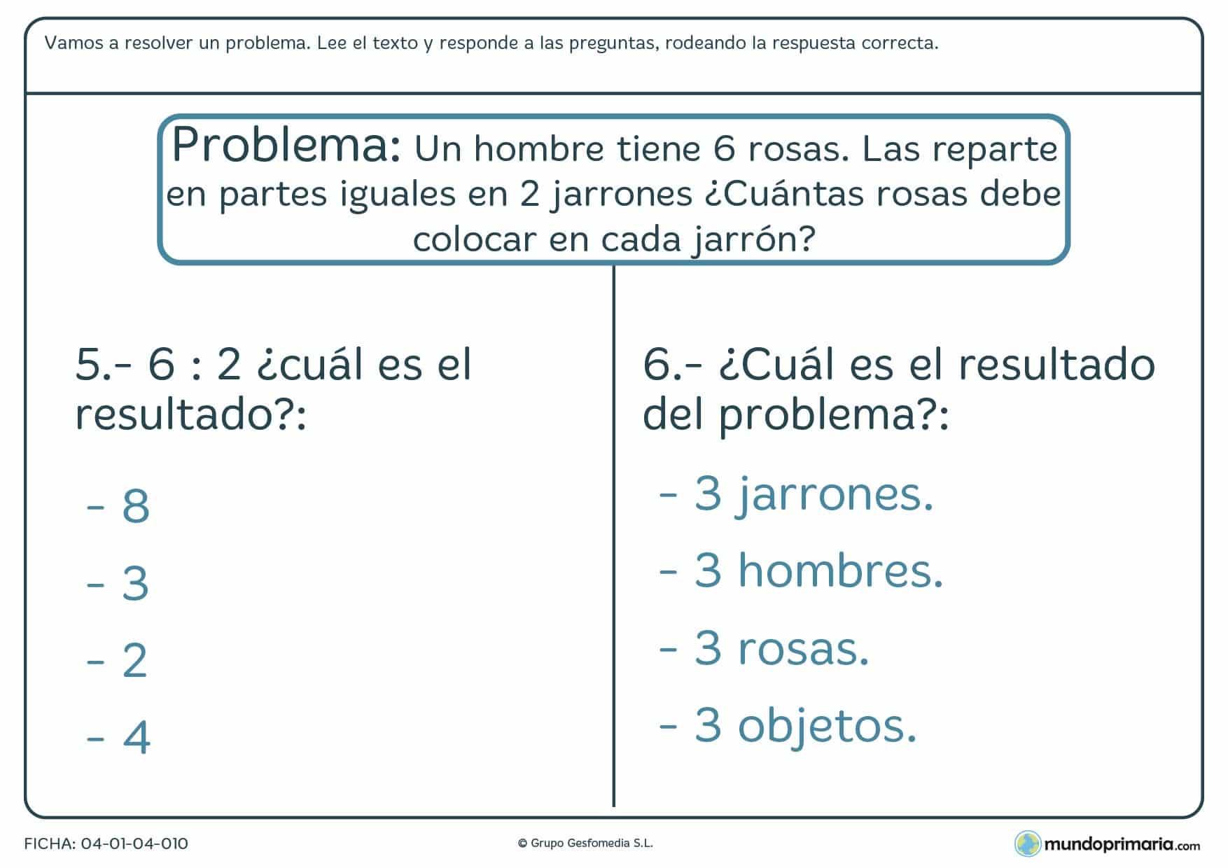 Ficha de responder a las preguntas sobre el problema en el que hay que leer un texto y responder a las preguntas sobre éste.