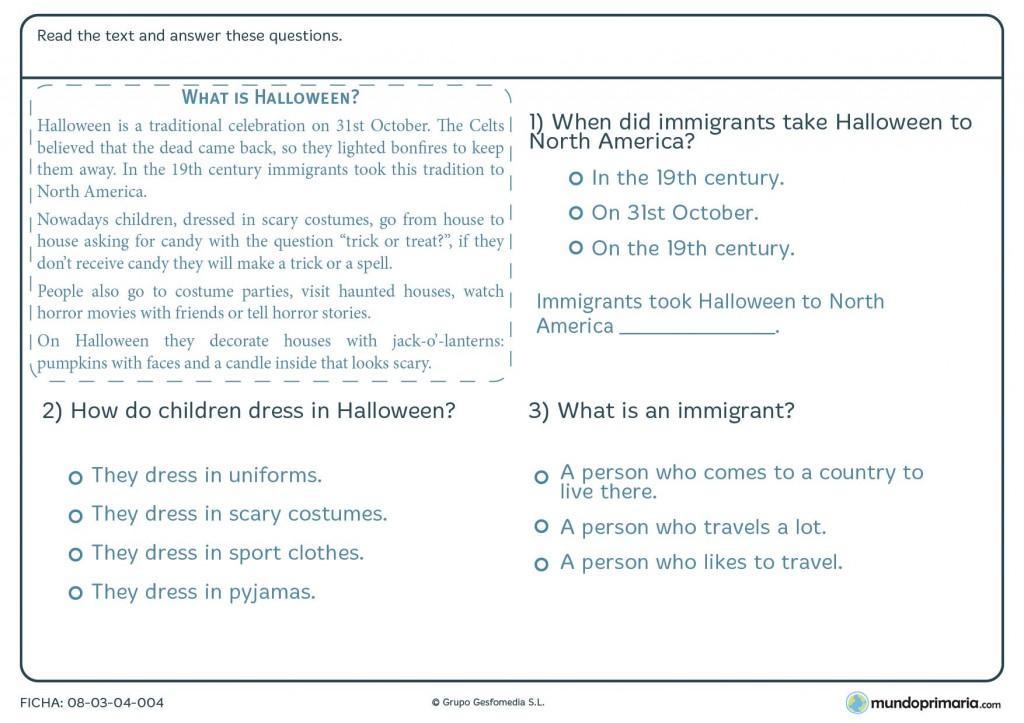 Ficha de responder preguntas sobre un texto de Halloween para primaria