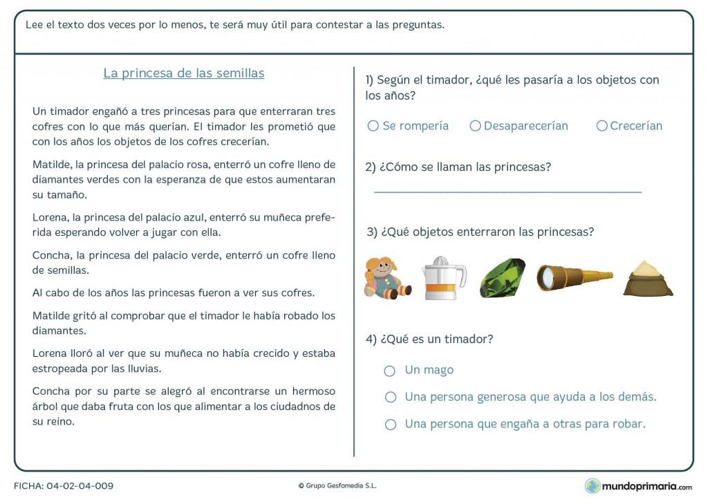 Ficha de responder preguntas sobre un texto para primaria
