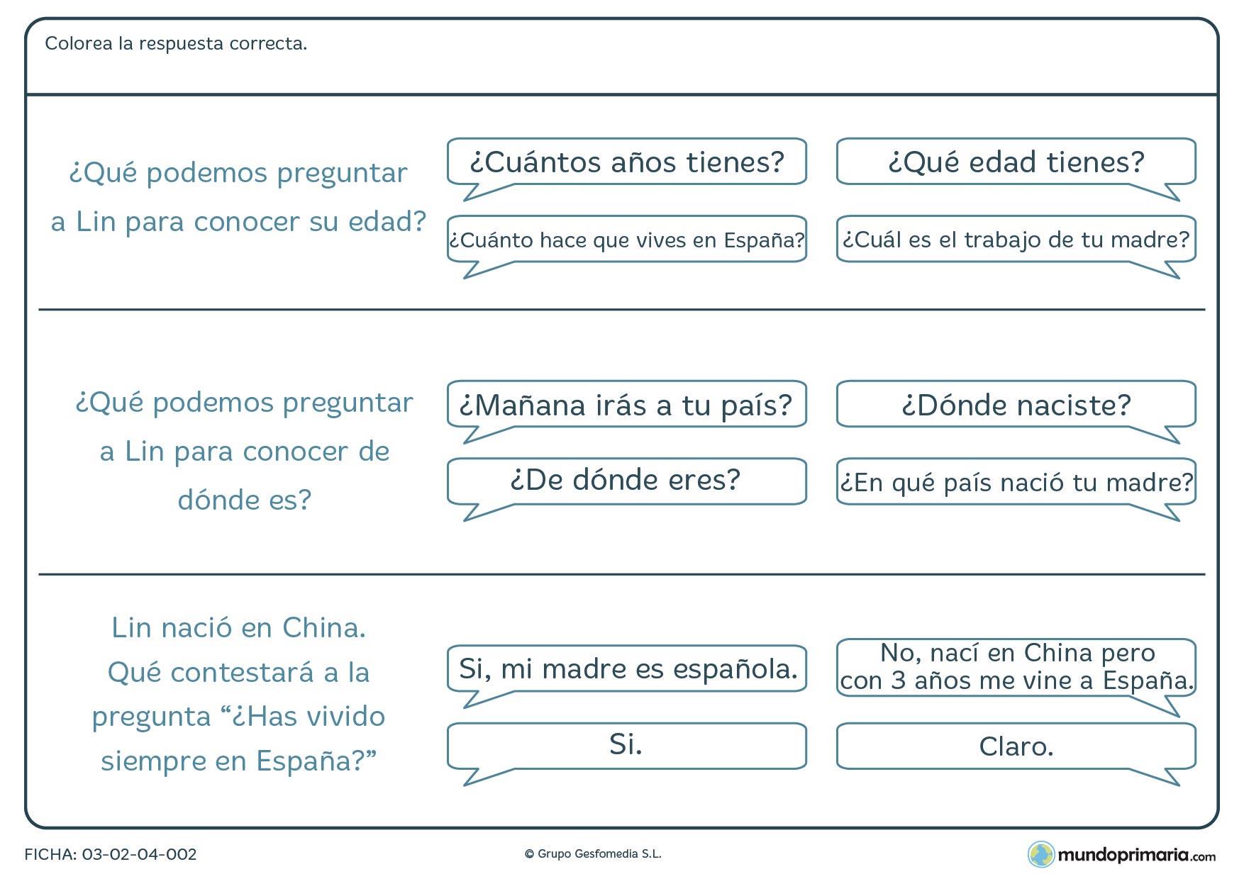 Ficha de respuestas y preguntas para niños de 7 a 8 años en la que debes relacionar cada pregunta con la respuesta más adecuada.