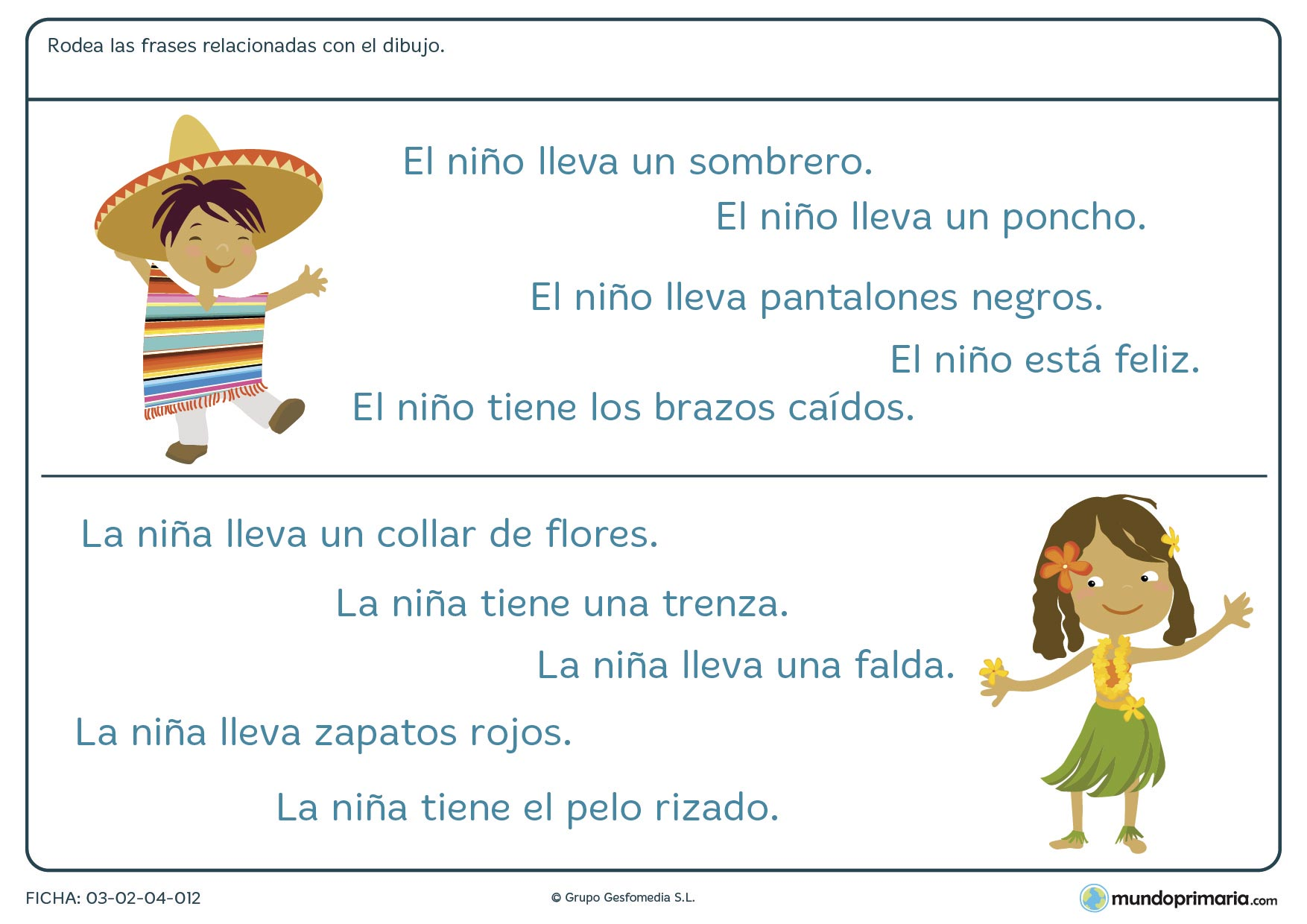 Ficha de rodear la frase que designa el dibujo para niños de primaria en la que debes identificar qué frase explica mejor el dibujo dado.