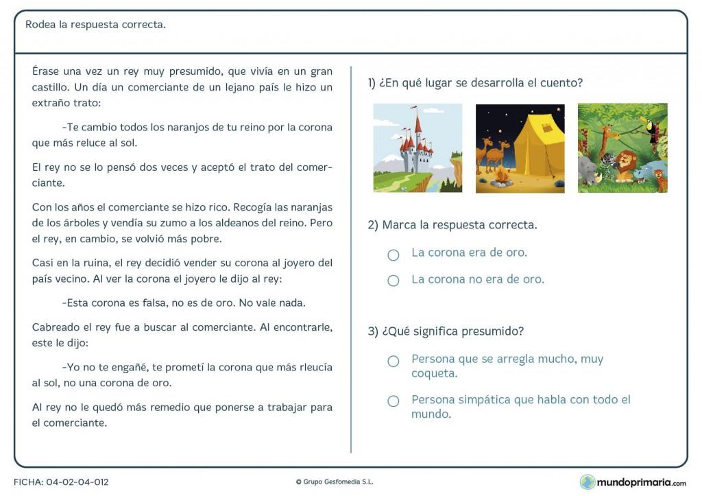 Ficha de rodear la respuesta correcta sobre un texto para primaria